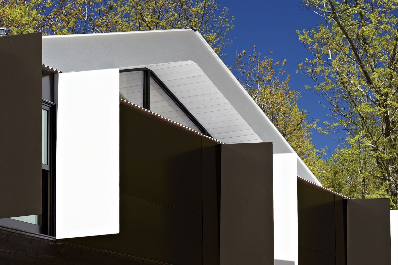 Exterior, Wood Siding Material, Prefab Building Type, Metal Roof Material, Gable RoofLine, and Cabin Building Type The roof overhang is painted white to bounce more light indoors.   Photo 10 of 15 in This Prefab Cabin Offers an Affordable Answer to Island Construction