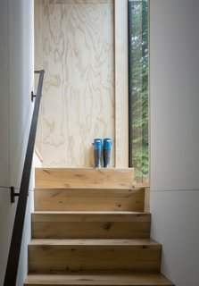 Timber stairs connect the entry to the upstairs bedrooms.