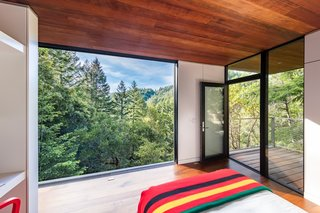 In the guest cabin, a sliding wall of glass opens the bedroom up to views of the forest.