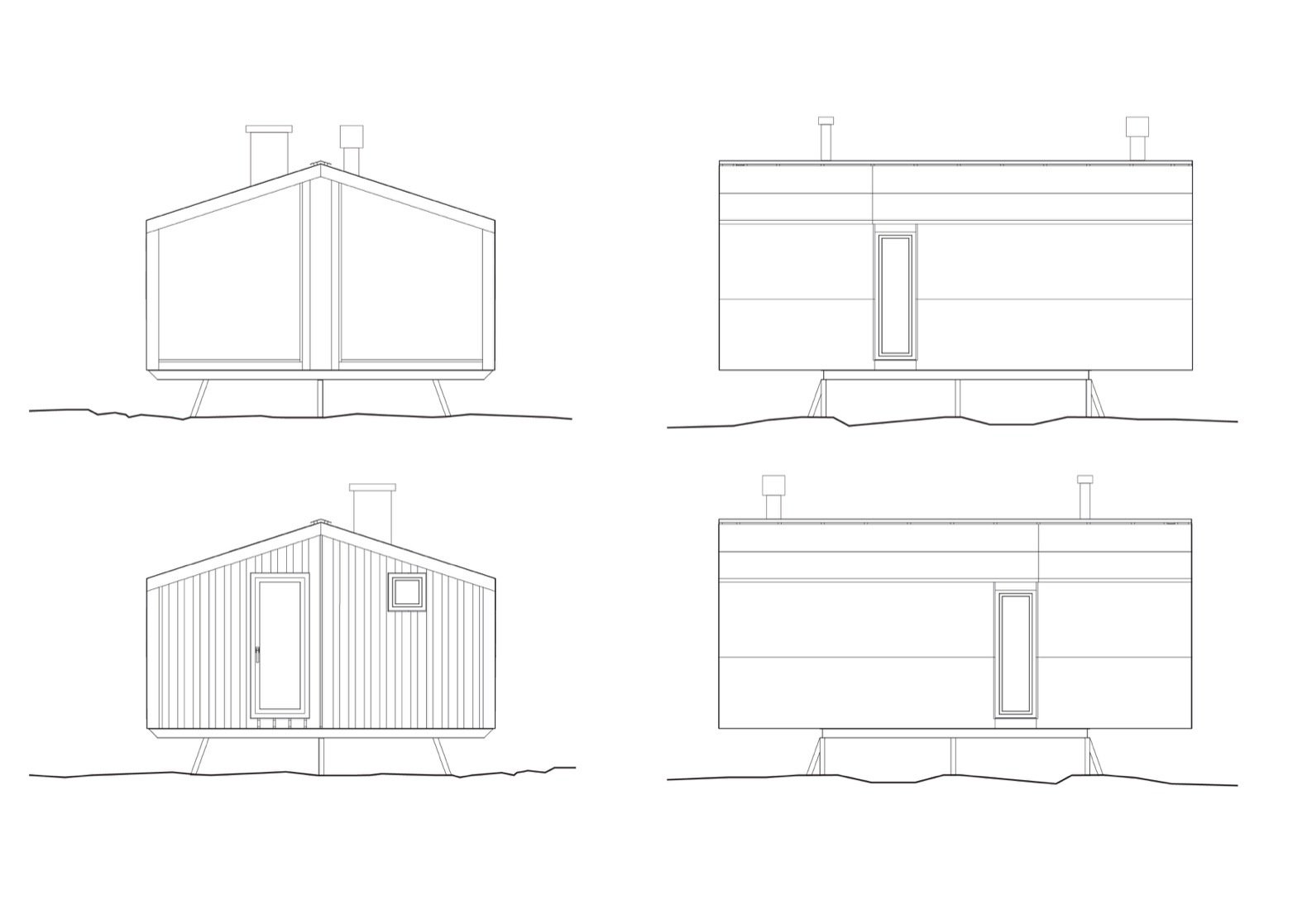 Dubldom in Kandalaksha elevation drawings.  Photo 20 of 22 in Go Off-Grid in Russia With This Bright Red Prefab Cabin