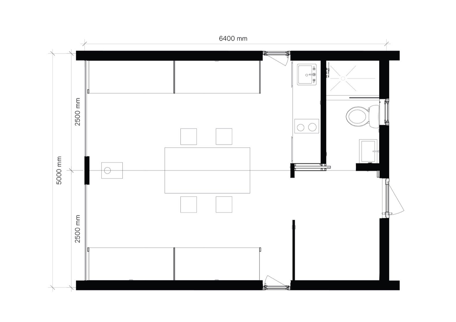 A look at the Dubldom in Kandalaksha floor plan.  Photo 19 of 22 in Go Off-Grid in Russia With This Bright Red Prefab Cabin