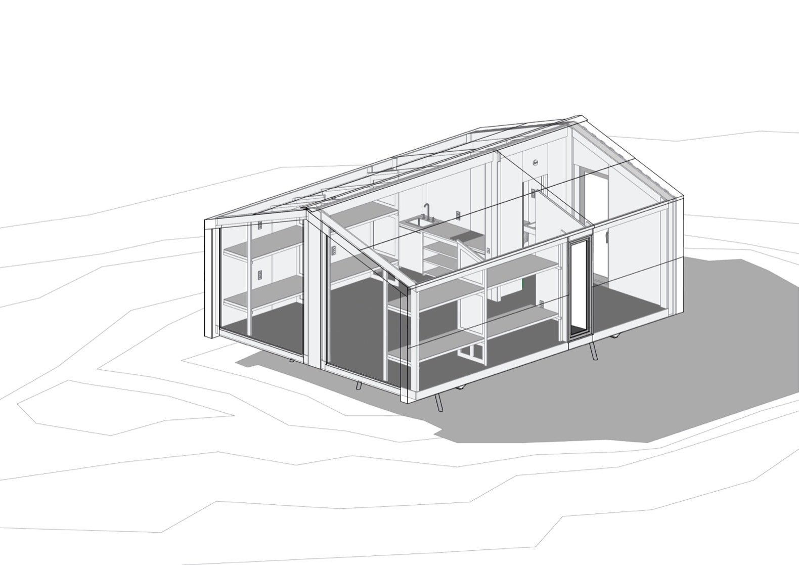Here's an isometric drawing of the cabin.  Photo 21 of 22 in Go Off-Grid in Russia With This Bright Red Prefab Cabin