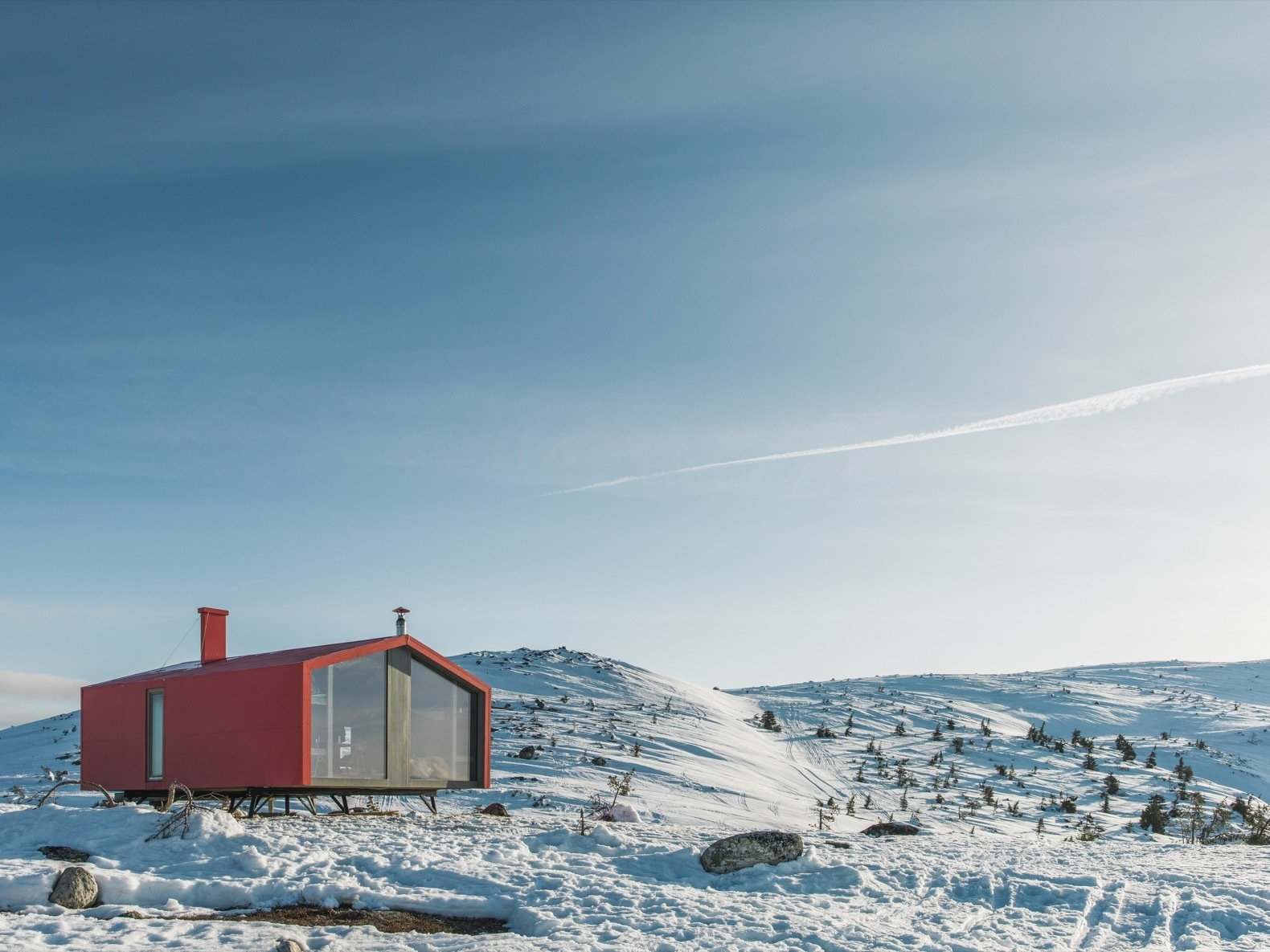 Exterior, Cabin, Gable, Metal, Metal, Prefab, and Small Home Red ALPOLIC aluminum composite panels have been used for the exterior cladding.    Best Exterior Cabin Small Home Gable Photos from Go Off-Grid in Russia With This Bright Red Prefab Cabin