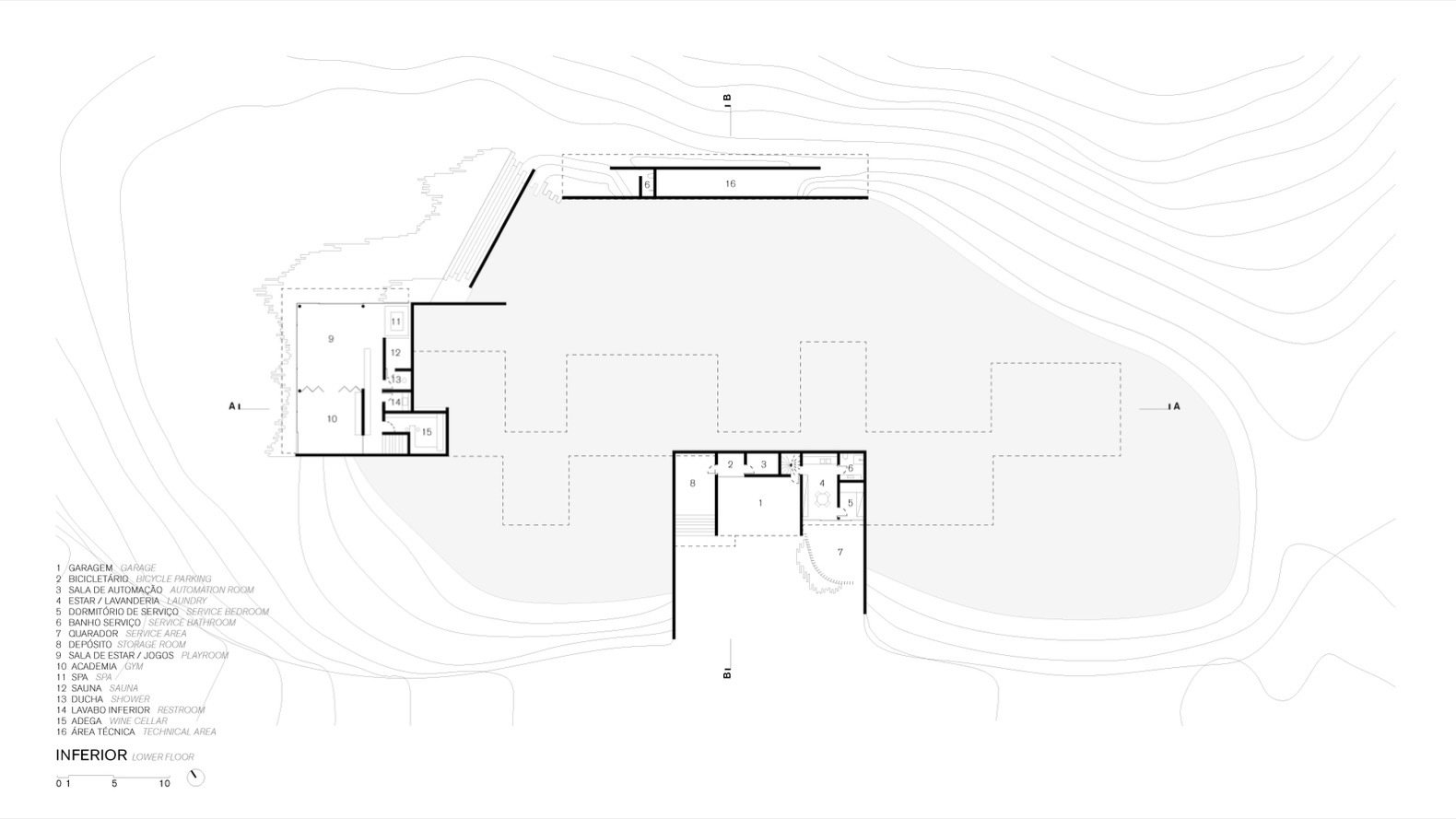 A look at Casa Terra's lower-level floor plan.  Photo 14 of 16 in Pigmented Concrete Walls Tie This Home Into the Landscape