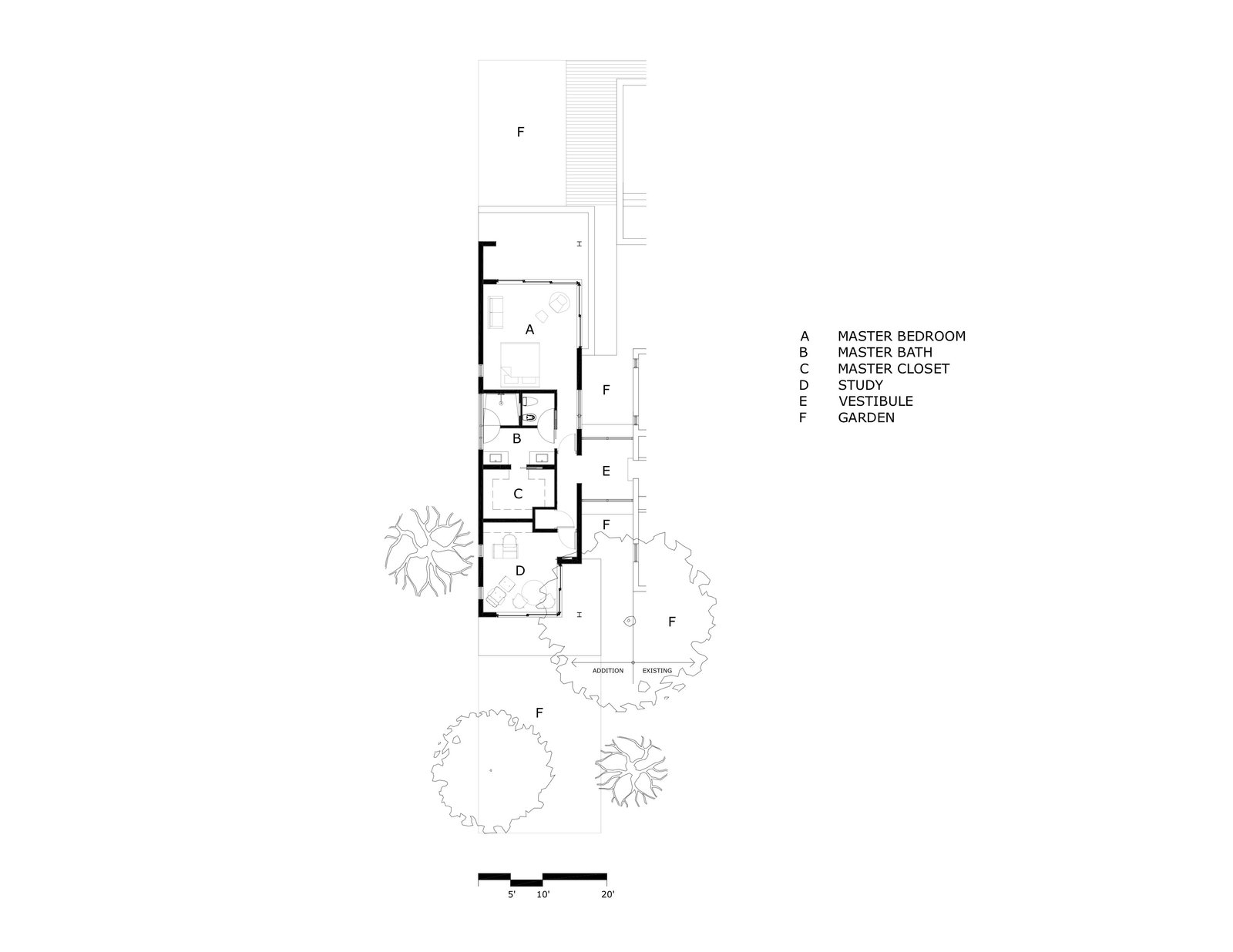 A look at the floor plan of the addition.  Photo 19 of 21 in A Minimalist Bungalow in Miami Welcomes a Sleek New Addition