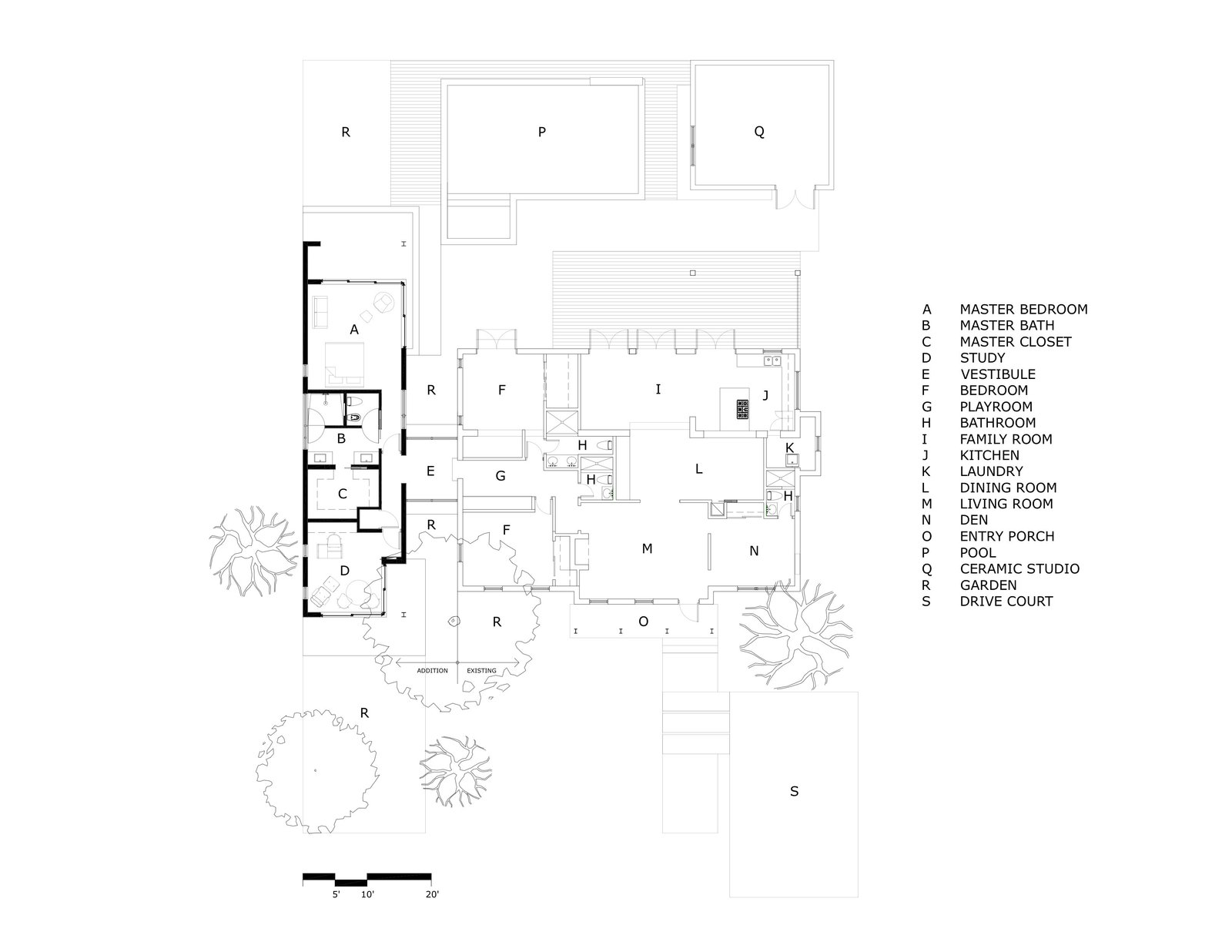 The floor plan of the addition alongside the existing house.   Photo 21 of 21 in A Minimalist Bungalow in Miami Welcomes a Sleek New Addition
