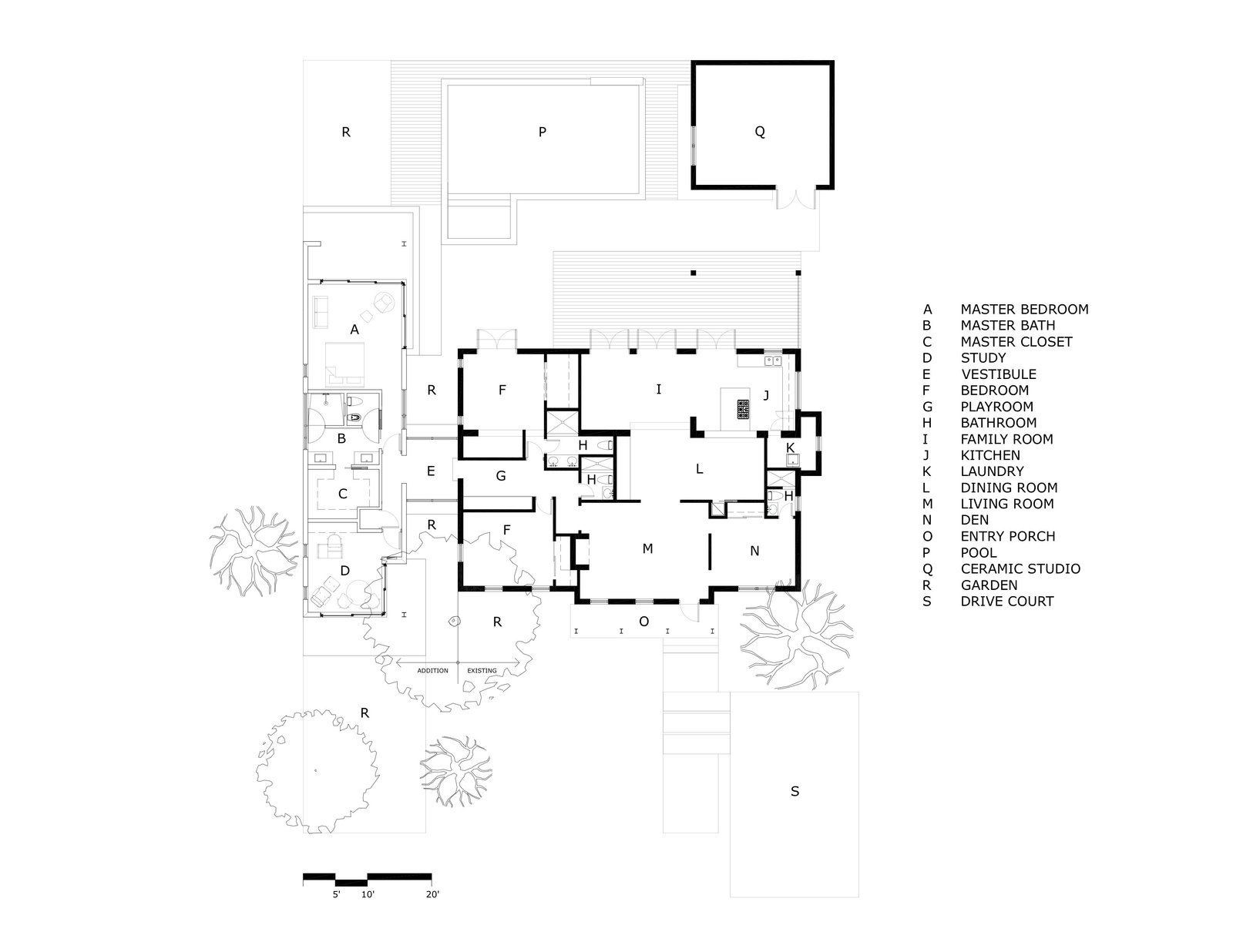 Here's a look at the floor plan of the existing home.  Photo 20 of 21 in A Minimalist Bungalow in Miami Welcomes a Sleek New Addition
