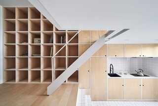 Remodeled on a budget of just $35,000, this 355-square-foot apartment uses affordable birch plywood for the flooring, doors, and storage units for a warm feel.