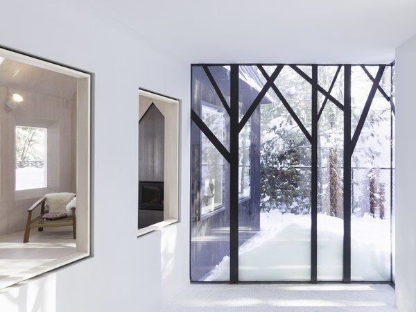The tree-shaped window frames bring an abstract forest indoors.