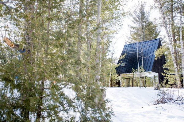 The 700-square-foot cabin features a steeply pitched roof that is nearly 23 feet in height.