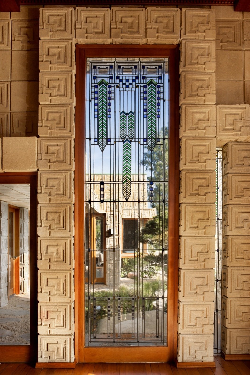 Windows, Picture Window Type, and Wood The home features 27 art-glass windows, which are some of the last examples used by Wright.    Photo 18 of 23 in Frank Lloyd Wright's Iconic Ennis House Is Listed For $23M