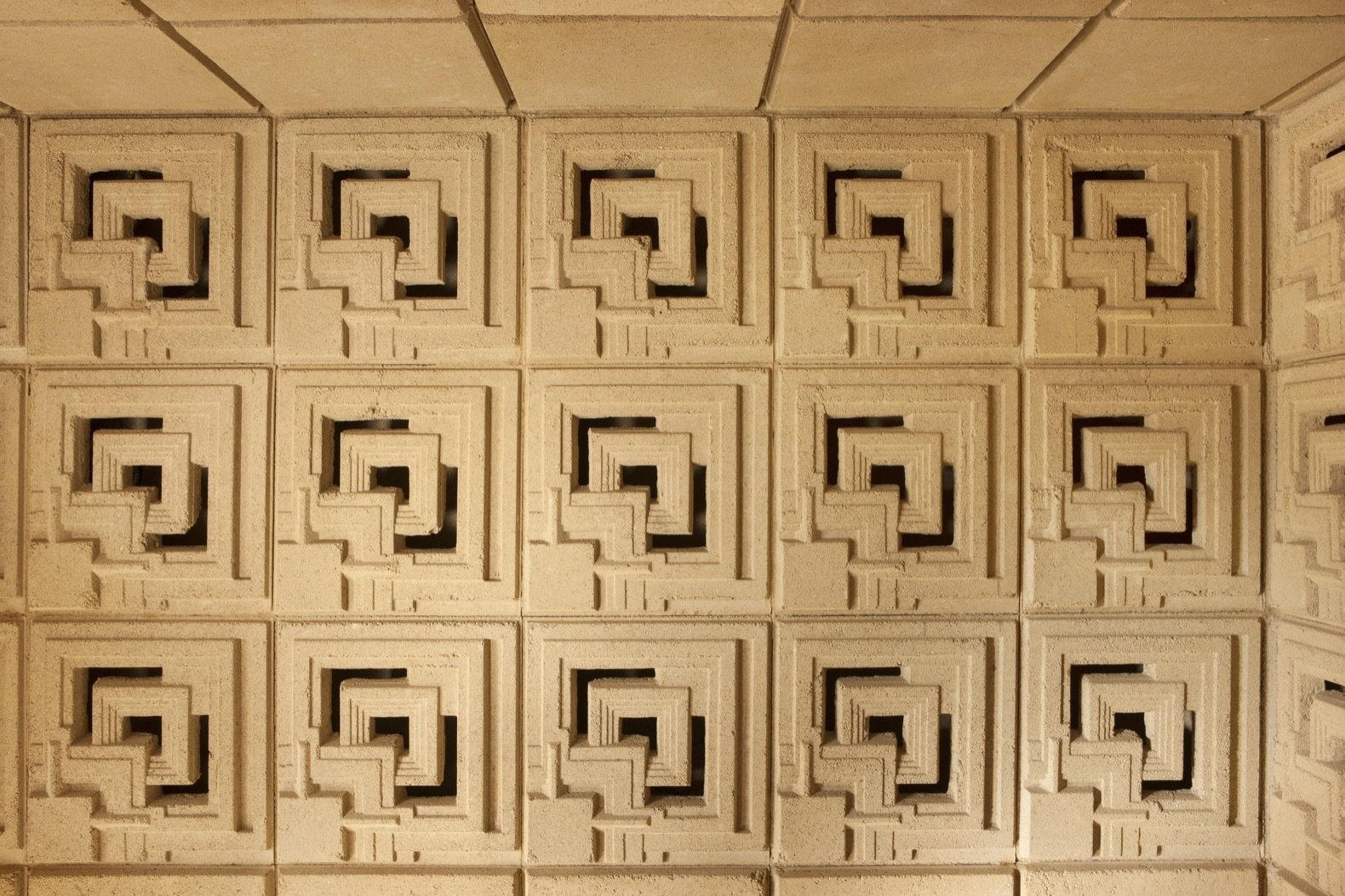 The rich, ornamental concrete blocks were made from decomposed granite extracted onsite to match the surrounding hills.    Photo 11 of 23 in Frank Lloyd Wright's Iconic Ennis House Is Listed For $23M