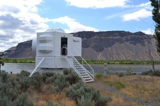 A Lunar Lander-Inspired Tiny House is an Otherworldly Escape