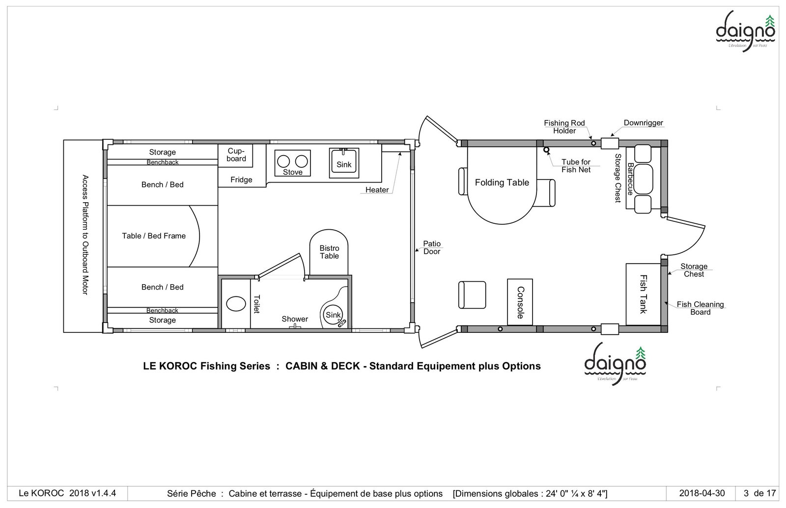 Here's the floor plan for the Le Koroc Fishing Series that includes extra amenities for fishermen including a fish tank, fishing rod holder, and more.  Photo 14 of 15 in Kick Back in This Tiny, Solar-Powered Houseboat For $61K