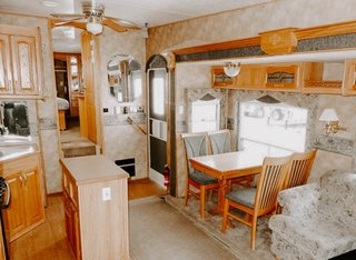A kitchen island was one of the essentials that the couple wanted when searching for their RV.