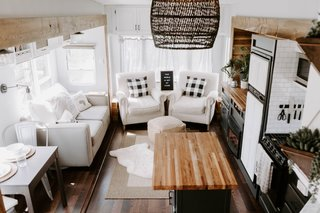 """Every good RV renovation starts with a couple douses of light-colored paint,"" says Lauren. ""We literally painted everything we could with Sherwin Williams Passive Gray. The change was dramatic, even from just some paint."""