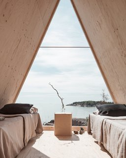 The triangular window is made from polycarbonate, which was chosen for safety reasons.
