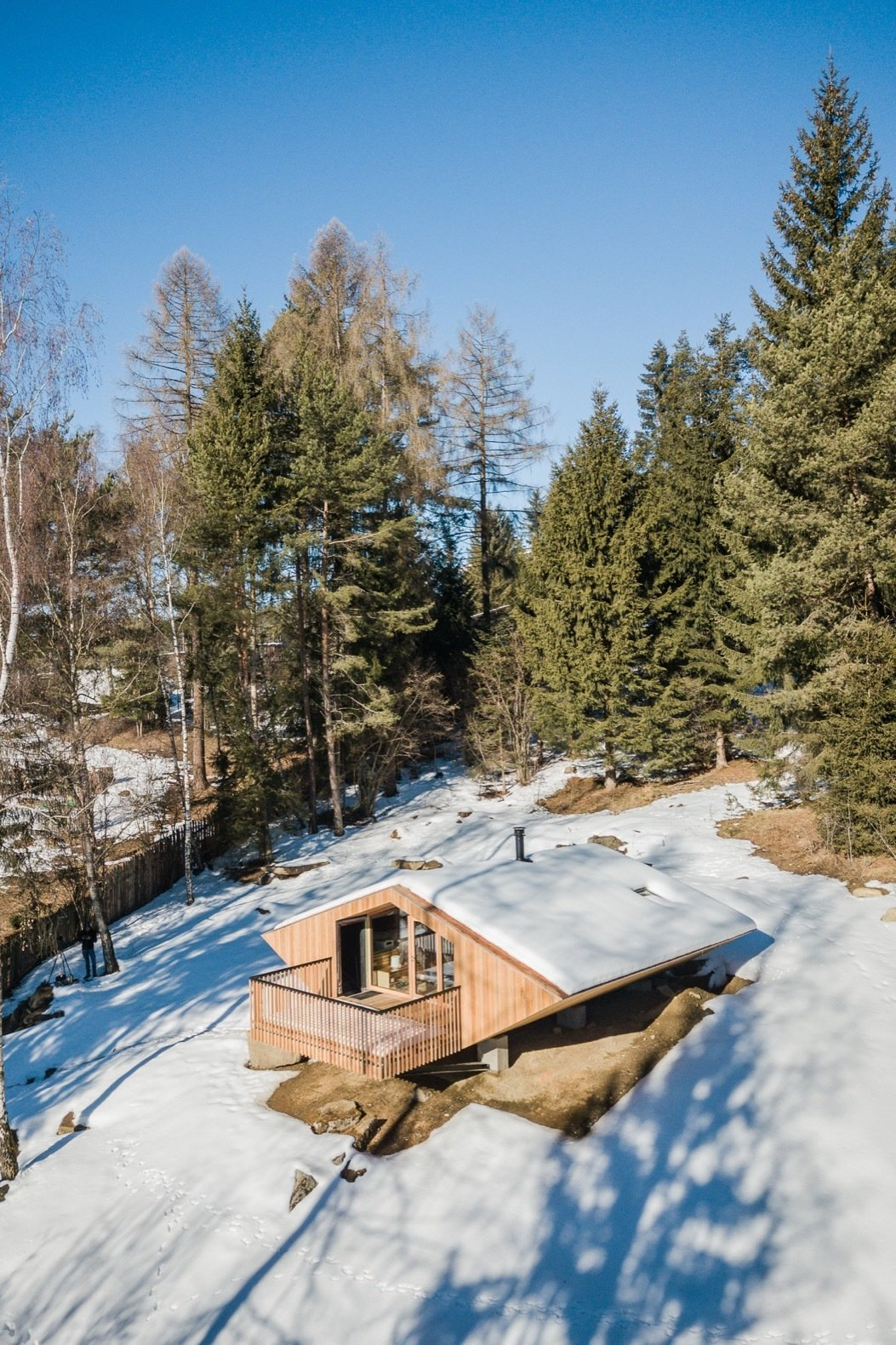 Exterior, House Building Type, Wood Siding Material, and Cabin Building Type The house is a five-sided prism elevated on six concrete pillars.   Photos from A 1970s UFO House Gains a Glorious Renovation
