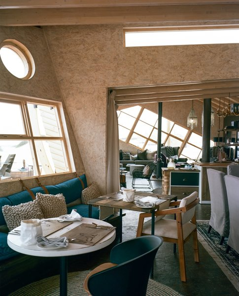 OSB was the right choice for the interiors of Shipwreck Lodge, a low-impact boutique hotel in the sand dunes of Namibia's coastline. Designed by Windhoek–based Nina Maritz Architects, the 20-bed property was constructed on a $2,000,000 budget that relied heavily on prefabrication to minimize environmental impact, and to ensure comfort for guests in the remote and extremely harsh desert.