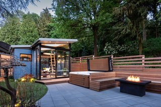 """""""The homeowners hoped to transform their lot into a unified, beautiful, indoor-outdoor oasis linking their home, yard, and a new backyard shed in a designed experience where every detail would come together to compose the many smaller sub-spaces into an integrated whole,"""" notes the design firm."""
