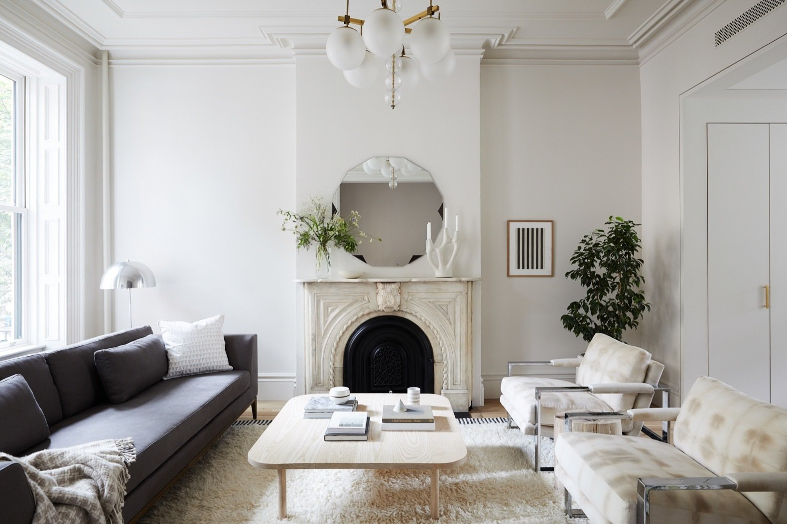 renovated brooklyn brownstone living room with fireplace