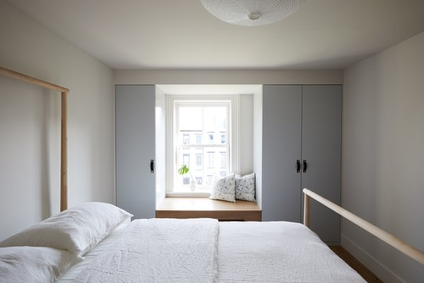 Best 60 modern bedroom pendant lighting design photos and ideas dwell custom closets painted benjamin moore sterling were added to both kids bedrooms one room aloadofball Gallery