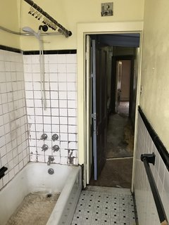 This bathroom, later converted into an office, was in a severe state of disrepair.