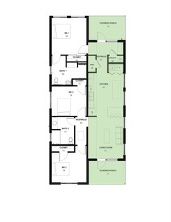 Aspire House floor plan. The public and private zones are evenly split in the home.