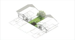 Two of the prototype homes share a garden.