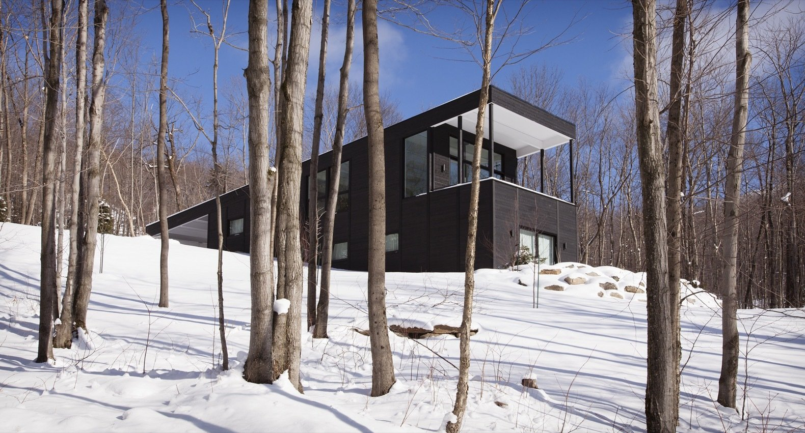Exterior, Wood Siding Material, House Building Type, Flat RoofLine, and Green Roof Material With the house pointing southward toward Mount Sutton, the residents can embrace the gorgeous views via a covered outdoor patio.    Best Photos from A Contemporary Cottage Is a Warm Refuge For a Family of Skiers
