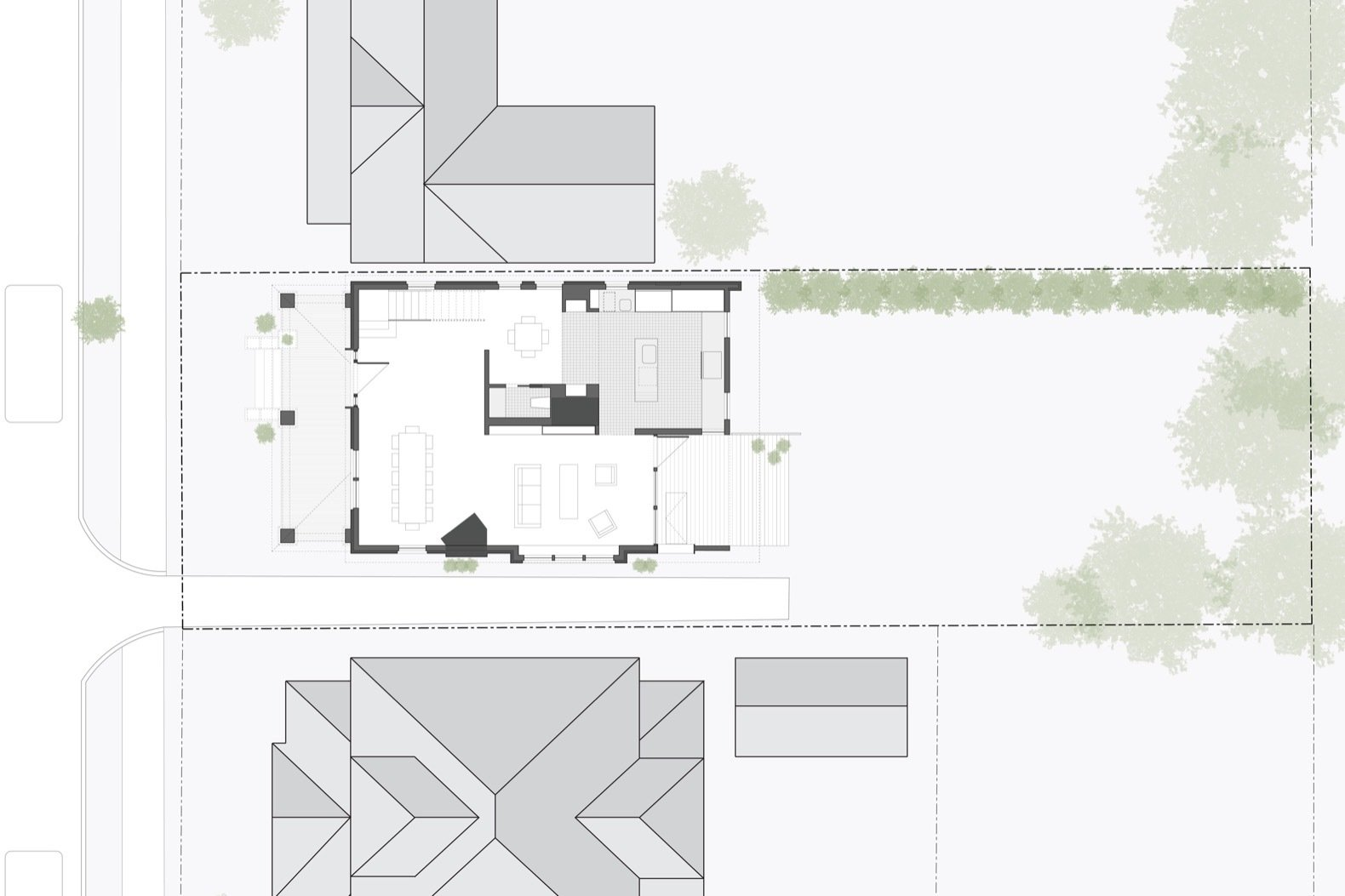Here is the Nolintha Residence ground floor floor plan.    Photo 14 of 15 in A Decaying 1920s Home Is Saved With a Mullet Renovation