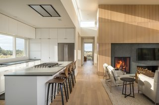 The floors throughout the home are rift-cut American White Oak finished with Rubio Monocoat.