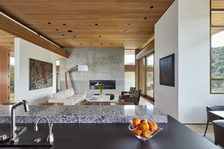 A View Of The Living Area From Kitchen Luxury Gas Fireplace Is