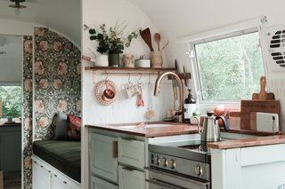 Before & After: Bold Wallpaper Brings Dreamy Vibes to a Dated Airstream