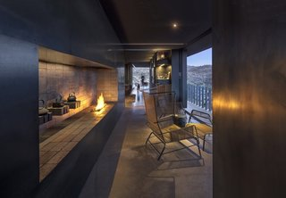 A view of the wine/fire lounge looking out toward the entry.