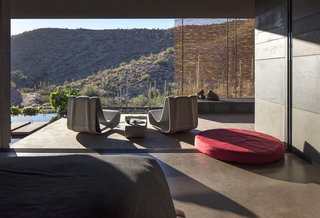 The master bedroom terrace includes an outdoor shower to the north and a koi pond to the south.