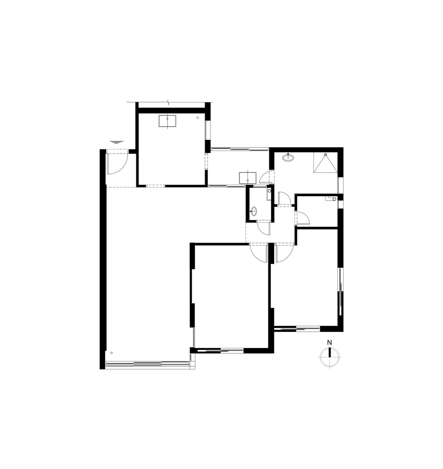 The renovated floor plan of Efrat Weinreb's apartment.  Photo 20 of 21 in Budget Breakdown: A Stunning Apartment Revamp Mixes High and Low For Under $100K