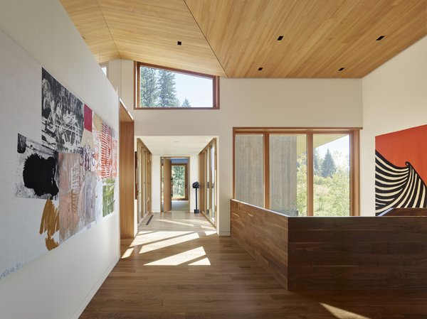 The ceilings throughout the house are CVG Western Hemlock. The floors are walnut.
