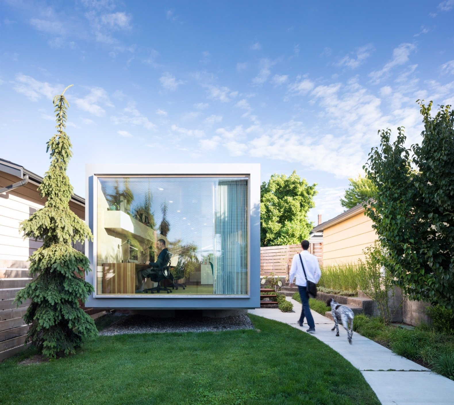 A Shipping Container Turns Into a Backyard Architecture Studio