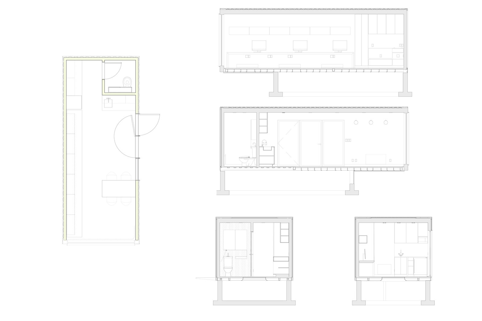 RBA Studio Floor Plan and Sections    Photo 11 of 11 in A Shipping Container Turns Into a Backyard Architecture Studio