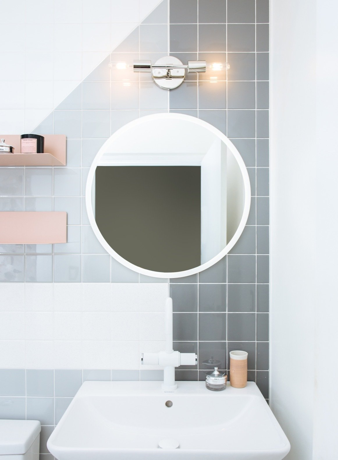 Bath, Two Piece, Porcelain Tile, Wall Mount, Wall, and Ceramic Tile The sink is from Duravit.  Best Bath Two Piece Wall Mount Photos from Budget Breakdown: A Humdrum Bathroom Gets a Retro-Chic Facelift For $17K