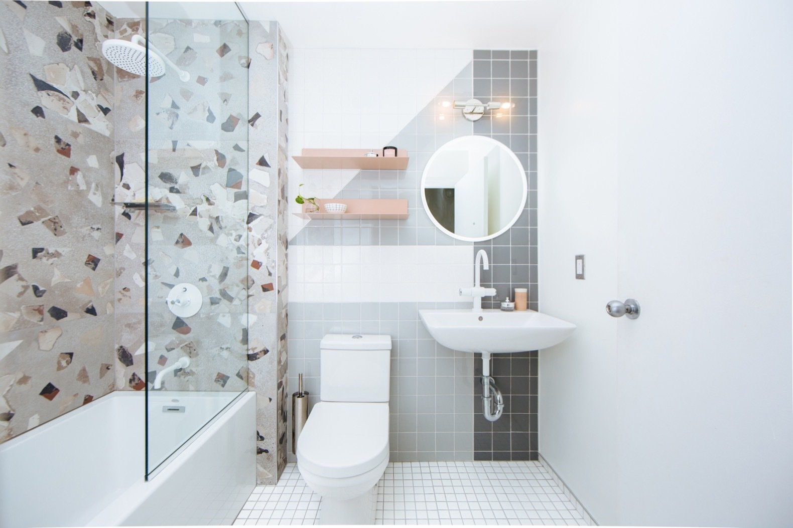 Bath, Porcelain Tile, Enclosed, Two Piece, Ceramic Tile, Wall Mount, Soaking, Wall, and Alcove The floor tile is from Virginia Tile, while the wall tile is from Daltile.  Best Bath Alcove Ceramic Tile Photos from Budget Breakdown: A Humdrum Bathroom Gets a Retro-Chic Facelift For $17K