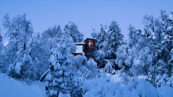 Set at an elevation of nearly 4,000 feet, La Dacha is lifted into an evergreen canopy.