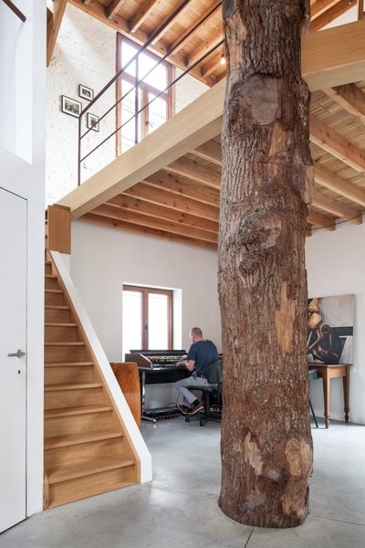 The owner uses the ground floor as a studio for art and music.