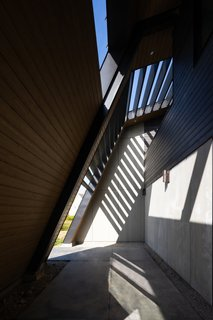 Located along the heavy steel back wall, the entry pathway is one of the home's several interstitial spaces designed to reinforce connection with nature. The soffit and wall siding are maibec wood.