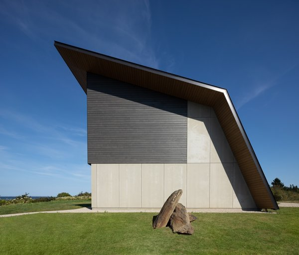 In contrast to its heavily glazed north facade, the home's other three sides are closed off from view for privacy.
