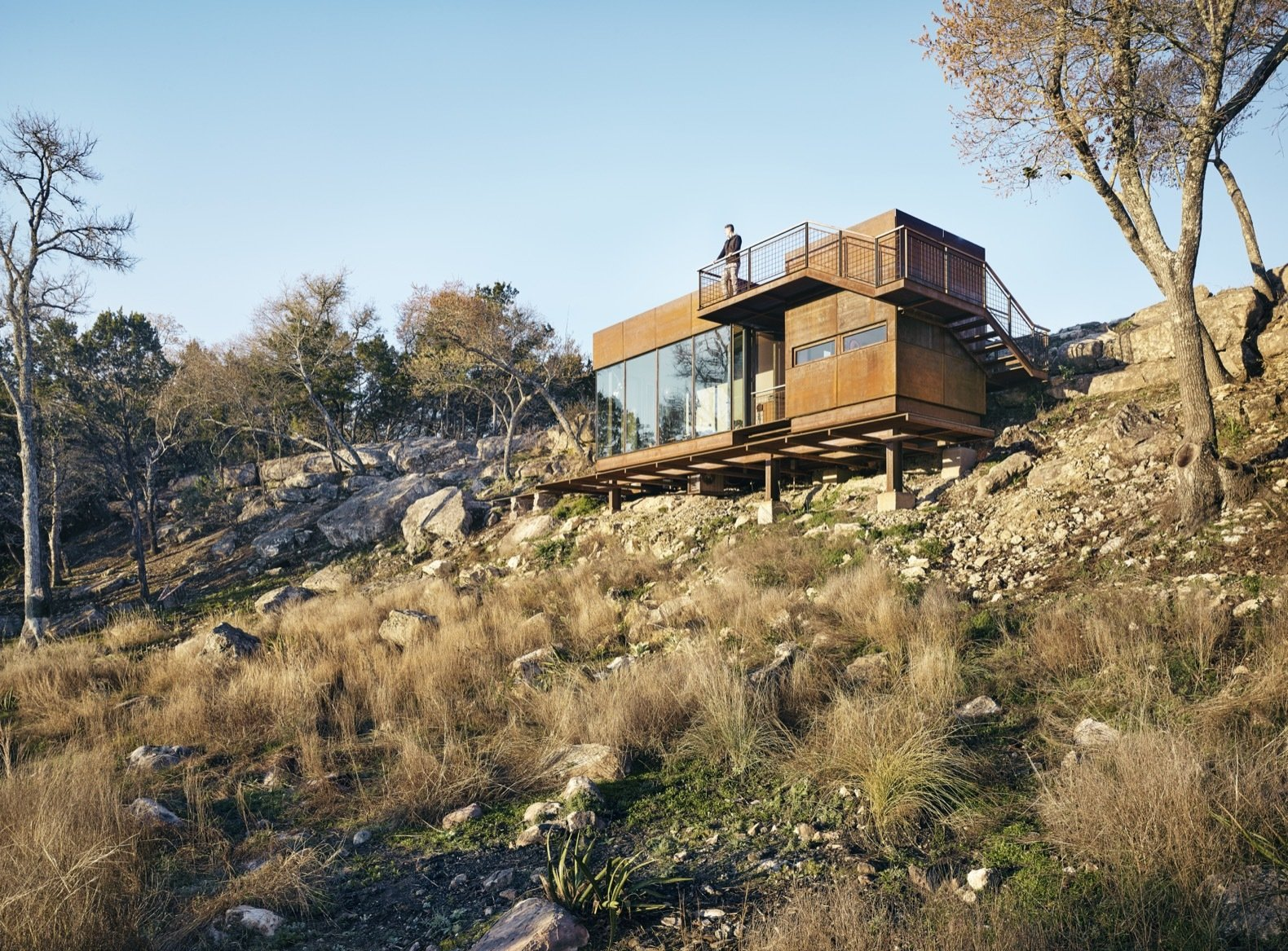 Exterior, Metal, Metal, Cabin, Flat, and Small Home Lemmo Architecture and Design received a 2017 AIA Austin award for the Clear Rock Lookout, one of their first commissions.   Best Exterior Cabin Small Home Photos from An Award-Winning Writing Studio Hides Quietly in Texas