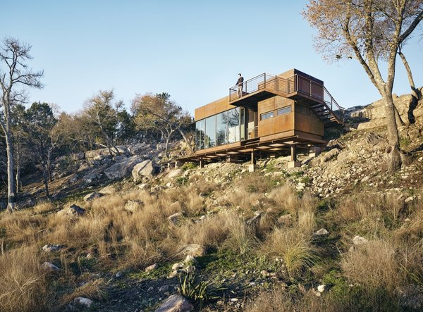 Exterior, Metal, Metal, Cabin, Flat, and Small Home Lemmo Architecture and Design received a 2017 AIA Austin award for the Clear Rock Lookout, one of their first commissions.   Best Exterior Cabin Small Home Metal Photos from An Award-Winning Writing Studio Hides Quietly in Texas