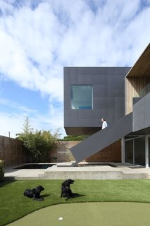 The cantilevered wing provides privacy by obscuring views into the yard.