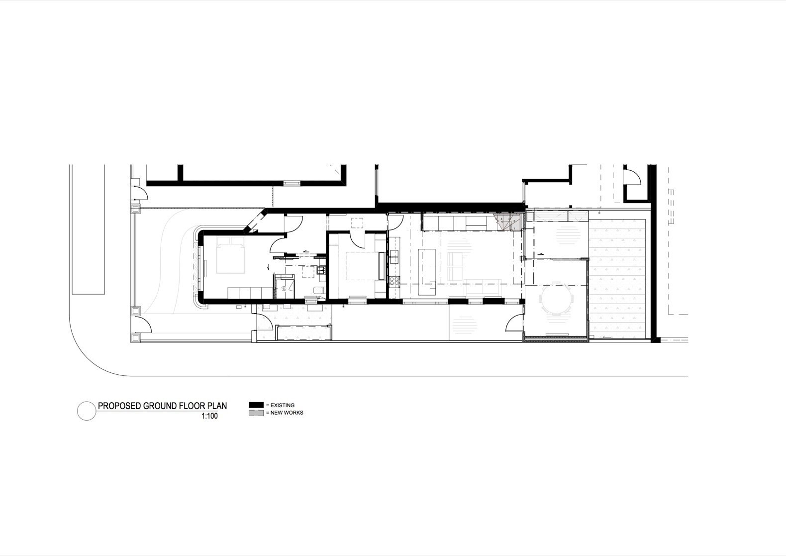 The Shadow House ground floor plan  Photo 15 of 16 in An Art Deco Dwelling Receives a Sleek, Contemporary Extension